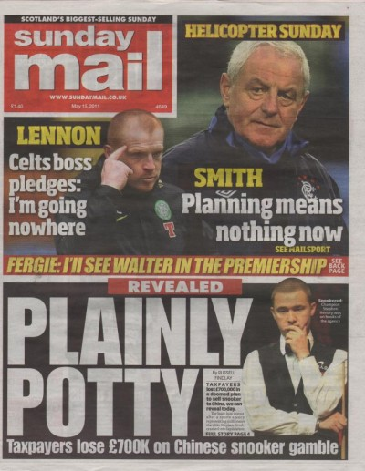 Sunday Mail - 15th May 2011 - Front Page